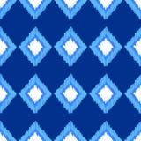 Μπλε και άσπρο ikat άνευ ραφής σχέδιο υφάσματος διακοσμήσεων γεωμετρικό αφηρημένο, διάνυσμα Στοκ εικόνα με δικαίωμα ελεύθερης χρήσης