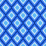 Μπλε και άσπρο ikat άνευ ραφής σχέδιο υφάσματος διακοσμήσεων γεωμετρικό αφηρημένο, διάνυσμα Στοκ Εικόνα