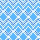 Μπλε και άσπρο ikat άνευ ραφής σχέδιο υφάσματος διακοσμήσεων γεωμετρικό αφηρημένο, διάνυσμα Στοκ εικόνες με δικαίωμα ελεύθερης χρήσης