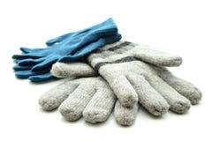 Μπλε και γκρίζα γάντια μαλλιού στοκ εικόνα με δικαίωμα ελεύθερης χρήσης