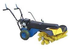 Μπλε και κίτρινη σκουπίζοντας μηχανή που απομονώνεται στο άσπρο υπόβαθρο Χειρωνακτική σκουπίζοντας μηχανή για τα γραφεία και τις  Στοκ φωτογραφία με δικαίωμα ελεύθερης χρήσης