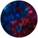 Μπλε και κόκκινο διάστημα συμβόλων Ying yang Στοκ Εικόνες