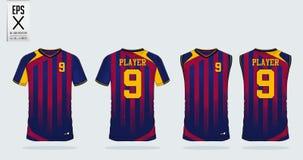 Μπλε και κόκκινο πρότυπο αθλητικού σχεδίου μπλουζών για το ποδόσφαιρο Τζέρσεϋ, την εξάρτηση ποδοσφαίρου και την κορυφή δεξαμενών  διανυσματική απεικόνιση