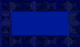 Μπλε και μαύρο άνευ ραφής σχέδιο μαιάνδρου αρχαίου Έλληνα πλαισίων, απλοϊκό μαύρο ιστορικό υπόβαθρο Γεωμετρική οπτική παραίσθηση ελεύθερη απεικόνιση δικαιώματος