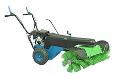 Μπλε και πράσινη σκουπίζοντας μηχανή που απομονώνεται στο άσπρο υπόβαθρο Χειρωνακτική σκουπίζοντας μηχανή για τα γραφεία και τις  Στοκ Εικόνες