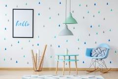 Μπλε και πράσινο δωμάτιο Στοκ Φωτογραφίες