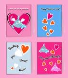 Μπλε και ρόδινοι καρχαρίες με τις καρδιές Χαριτωμένη ευχετήρια κάρτα βαλεντίνων με τις επιθυμίες Εσείς η διανυσματική απεικόνιση  διανυσματική απεικόνιση