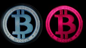 Μπλε και ρόδινο Crypto Bitcoin νόμισμα Στοκ Εικόνα