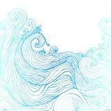 Μπλε και σκούρο μπλε διακοσμητικά κύματα doodles απεικόνιση αποθεμάτων
