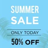 Μπλε καλοκαίρι 50% από το σχέδιο προτύπων εμβλημάτων πώλησης Μεγάλη ειδική προσφορά πώλησης Μόνο tpday έμβλημα προσφοράς 50% ειδι διανυσματική απεικόνιση