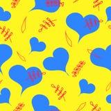 Μπλε καρδιές με τα κόκκινα λουλούδια απεικόνιση αποθεμάτων