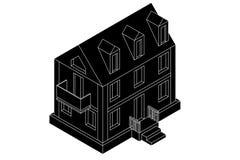 μπλε κατοικημένος ουρανός σπιτιών οικοδόμησης Μαύρο isometric σχέδιο Στοκ Εικόνες