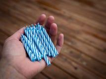 μπλε κεριά γενεθλίων στοκ φωτογραφία με δικαίωμα ελεύθερης χρήσης