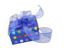 Μπλε κιβώτιο δώρων Στοκ εικόνα με δικαίωμα ελεύθερης χρήσης