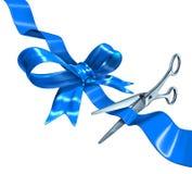 Μπλε κοπή κορδελλών Στοκ εικόνα με δικαίωμα ελεύθερης χρήσης