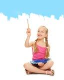μπλε κορίτσι λίγη ζωγραφ&iot Στοκ εικόνα με δικαίωμα ελεύθερης χρήσης