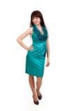 μπλε κορίτσι φορεμάτων brunette Στοκ Εικόνα