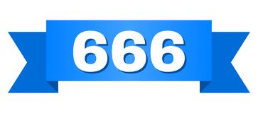 Μπλε κορδέλλα με τον τίτλο 666 ελεύθερη απεικόνιση δικαιώματος