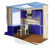 μπλε κουζίνα Στοκ φωτογραφία με δικαίωμα ελεύθερης χρήσης