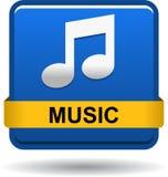 Μπλε κουμπιών Ιστού εικονιδίων μουσικής Στοκ Φωτογραφία