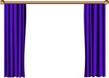 μπλε κουρτίνα ανοικτή Στοκ Φωτογραφίες