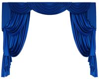 Μπλε κουρτίνα θεάτρων που απομονώνεται απεικόνιση αποθεμάτων