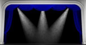μπλε κουρτίνες τρισδιάστατος δώστε Στοκ Φωτογραφία