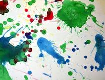 Μπλε κόκκινα σημεία κρητιδογραφιών Watercolor, υπόβαθρο μορφών αντίθεσης στα χρώματα κρητιδογραφιών Στοκ Εικόνες