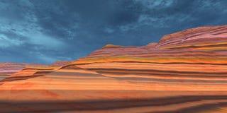 μπλε κόκκινος ουρανός βράχων ελεύθερη απεικόνιση δικαιώματος