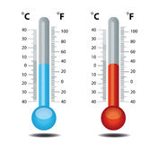 μπλε κόκκινο θερμόμετρο Στοκ Φωτογραφίες