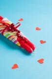 μπλε κόκκινο καρδιών κεριών Στοκ εικόνες με δικαίωμα ελεύθερης χρήσης