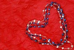 μπλε κόκκινο λευκό καρδ& Στοκ Εικόνες