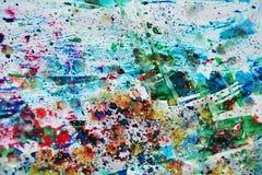 Μπλε κόκκινο χρώμα, κέρινα σημεία, χρώμα watercolor, ζωηρόχρωμα χρώματα Στοκ φωτογραφία με δικαίωμα ελεύθερης χρήσης