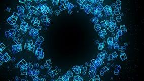 Μπλε κύβοι στο μαύρο υπόβαθρο Η σύνδεση των τρισδιάστατων κύβων με γεωμετρικός polygonal Κυβερνοχώρος Επιχειρησιακό σύμβολο ελεύθερη απεικόνιση δικαιώματος