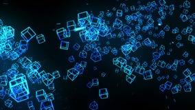 Μπλε κύβοι στο μαύρο υπόβαθρο Η σύνδεση των τρισδιάστατων κύβων με γεωμετρικός polygonal Κυβερνοχώρος Επιχειρησιακό σύμβολο διανυσματική απεικόνιση