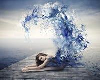 Μπλε κύμα Ballerina Στοκ φωτογραφία με δικαίωμα ελεύθερης χρήσης