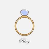 Μπλε λάμποντας απεικόνιση δαχτυλιδιών διαμαντιών στο ανοικτό γκρι υπόβαθρο Στοκ εικόνα με δικαίωμα ελεύθερης χρήσης