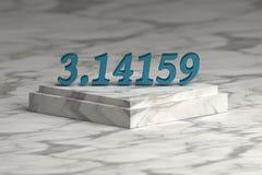 Μπλε λαμπρά μεταλλικά ψηφία αριθμού pi ελεύθερη απεικόνιση δικαιώματος