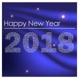 Μπλε λαμπρή καλή χρονιά 2018 από μικρά snowflakes eps10 Στοκ Εικόνες