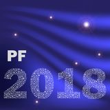 Μπλε λαμπρή κυρτή καλή χρονιά pf 2018 από μικρά snowflakes eps10 Στοκ Φωτογραφία
