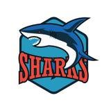 Μπλε λογότυπο καρχαριών με το διάστημα κειμένων για το σύνθημα/τη γραμμή ετικεττών σας ελεύθερη απεικόνιση δικαιώματος