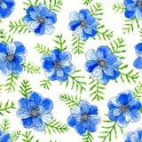 Μπλε λουλούδια Watercolor με τα φύλλα που απομονώνονται στο κίτρινο υπόβαθρο Χρωματισμένη χέρι απεικόνιση σκίτσων διανυσματική απεικόνιση