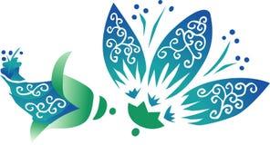 μπλε λουλούδι Ασιάτης διανυσματική απεικόνιση