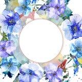 Μπλε λουλούδι λιναριού Floral βοτανικό λουλούδι Τετράγωνο διακοσμήσεων συνόρων πλαισίων Στοκ εικόνα με δικαίωμα ελεύθερης χρήσης
