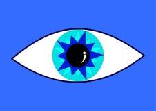 Μπλε μάτι στο μπλε backround Στοκ εικόνες με δικαίωμα ελεύθερης χρήσης