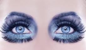 μπλε μακροεντολή μόδας φ&a στοκ εικόνες