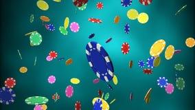 μπλε μείωση τσιπ χαρτοπαικτικών λεσχών ανασκόπησης Στοκ Φωτογραφίες