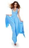 μπλε νεολαίες γυναικών φορεμάτων Στοκ εικόνες με δικαίωμα ελεύθερης χρήσης