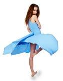 μπλε νεολαίες γυναικών φορεμάτων Στοκ εικόνα με δικαίωμα ελεύθερης χρήσης