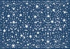 Μπλε νυχτερινός ουρανός με τα άσπρα αστέρια και τα σημεία σχεδίων r διανυσματική απεικόνιση